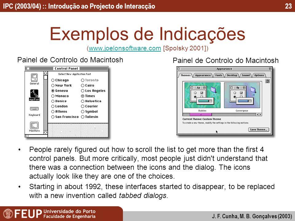 Exemplos de Indicações (www.joelonsoftware.com [Spolsky 2001])
